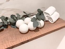 Six eucalyptus CBD Bath Bombs over the spa tub at the Kimpton Hotel Monaco Pittsburgh