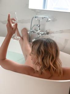 Rebecca enjoying some bubbles and a CBD bath