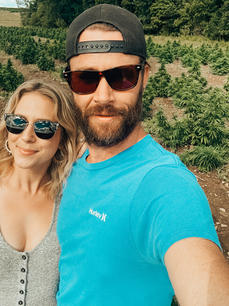 Rebecca and Steve take their best selfies in the hemp fields