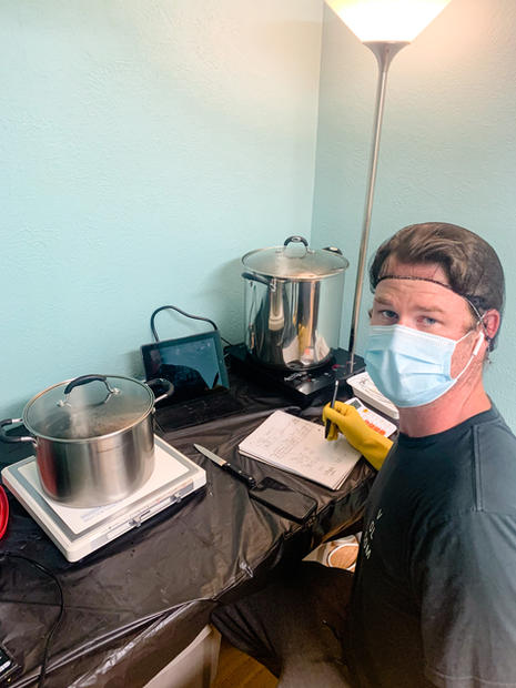 Steve cooking up some CBD oil