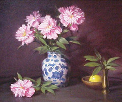 Peonies with a Lemon