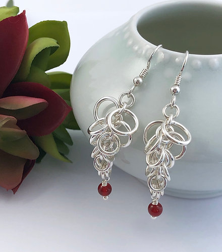 Shaggy Loop Earrings with Carnelian