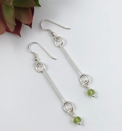 Stick Earrings with Peridot
