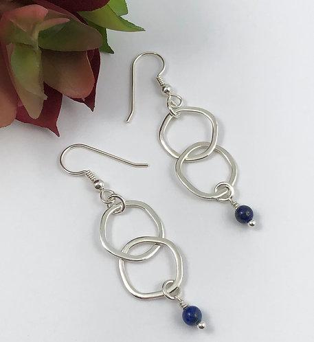 Double Kinky O Earrings with Lapis