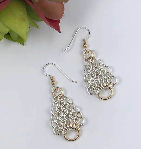 Pear Maille Earrings with Gold Rings