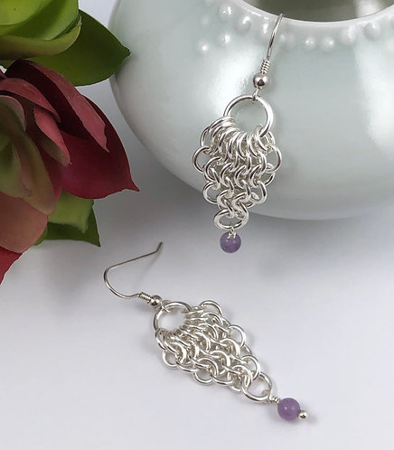 Reverse Pear Maille Earrings with Amethyst