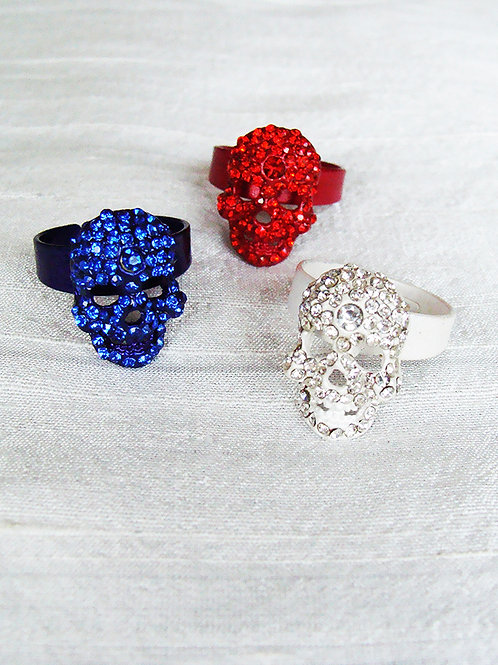 MINI SKULL RING (blue, red or white)