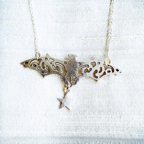 """BAT WITH STAR"" silver"