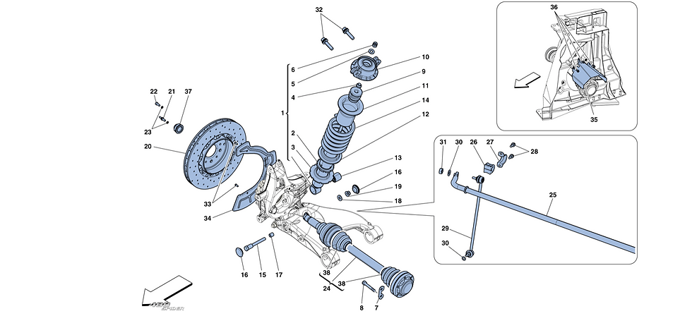 Rear Suspension - Shock Absorber And Bra