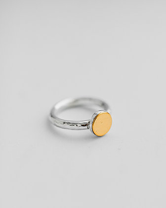 Gold and Silver Flat Top Ring