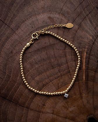 Gold Bead Petite Diamante Chain Bracelet