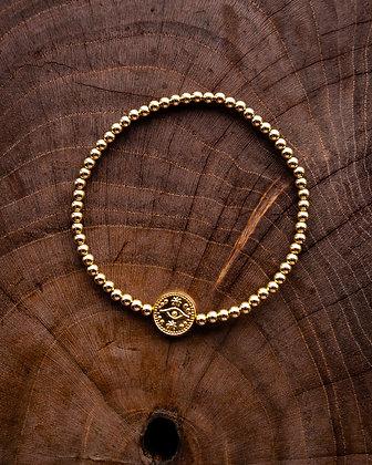 Lucky Eye Gold Bead Bracelet