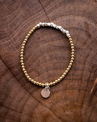 Large Silver Nugget and Gold Bead Charm Bracelet