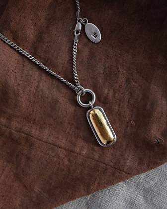 Chunky Gold Rectangle Pendant - limited