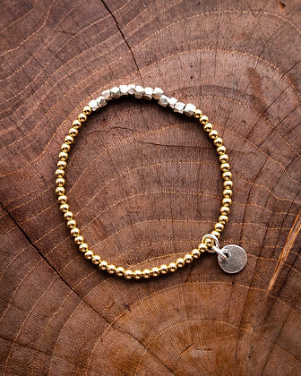 Large Silver Nugget and Gold Beads Charm Bracelet