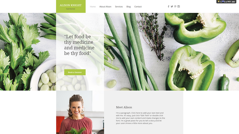 DIETITIAN | WIX - 5 PAGE SITE + BLOG