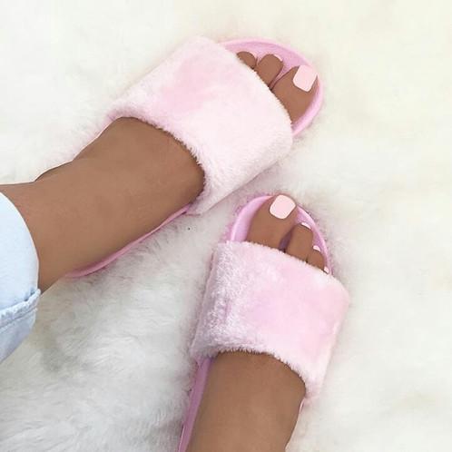 faux fur slides baby pink pre order price