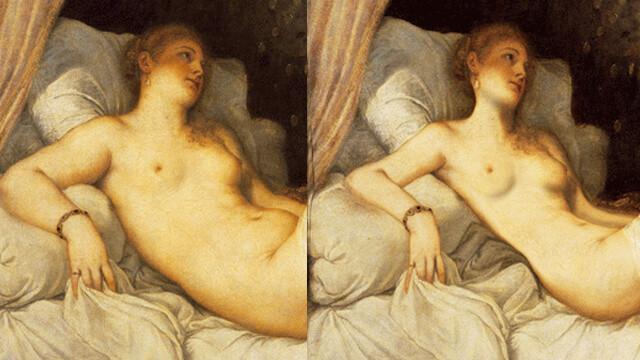 Soldaki tablonun orijinali, sağdaki ise günümüz standartlarına uygun photoshoplanmış hali.