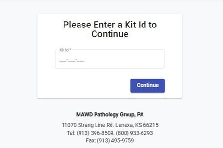 C19 Kit Registration Page