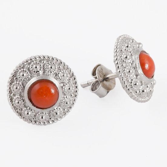 orecchini in filigrana sarda argento 925 e corallo rosso Sardegna