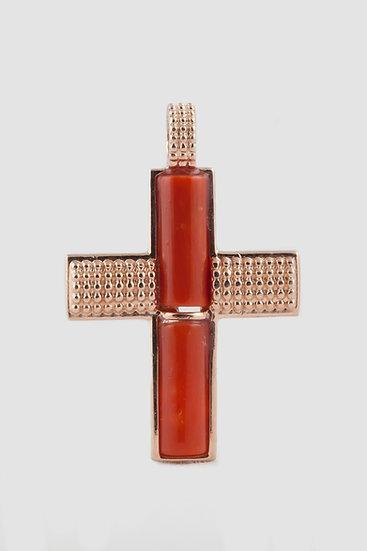 croce con corallo e argento 925