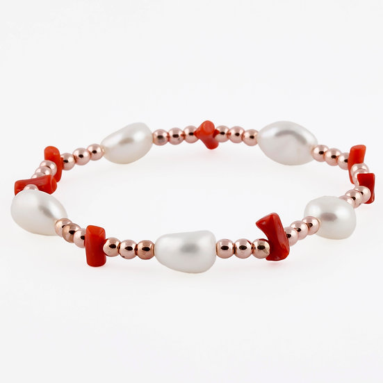 Bracciale elastico Ematite Corallo e Perle Barocche