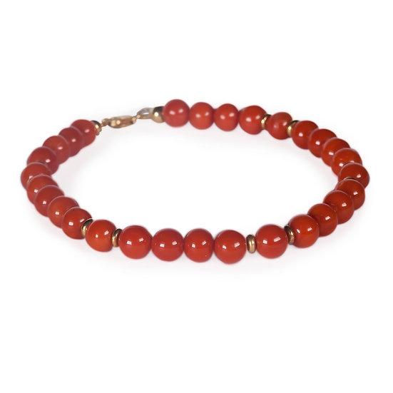 bracciale sfere (6mm)  corallo rosso e oro
