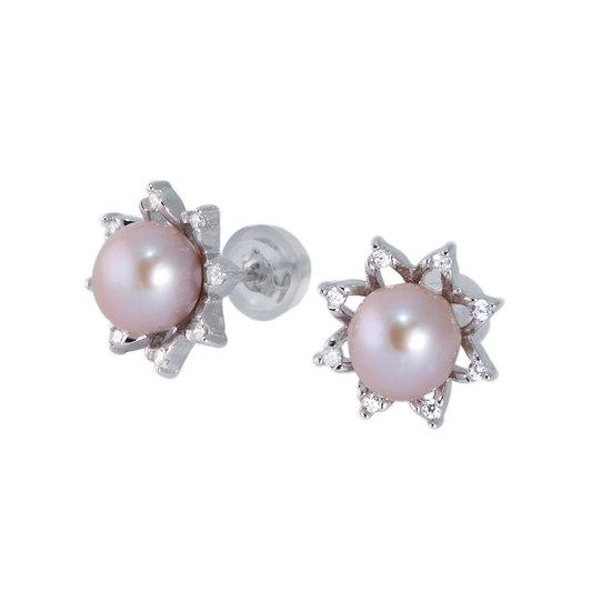 Orecchini stella argento perle coltivate e zirconi