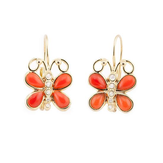 Orecchini Farfalla monachina, argento, corallo e zirconi
