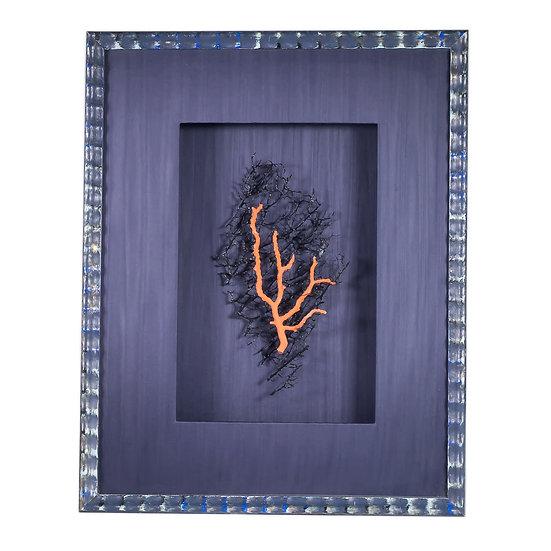 Quadro design moderno  con ramo corallo rosso di Alghero