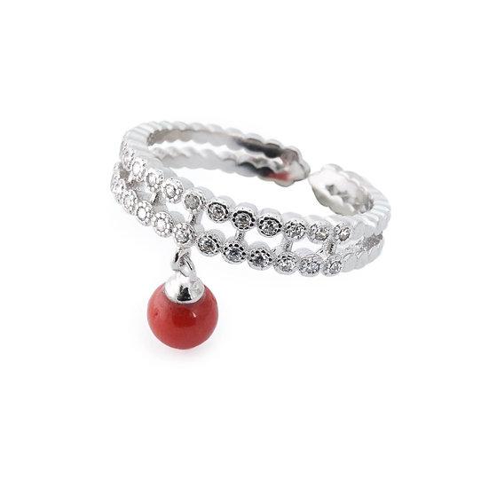 Anello charm Corallo rosso argento e zirconi