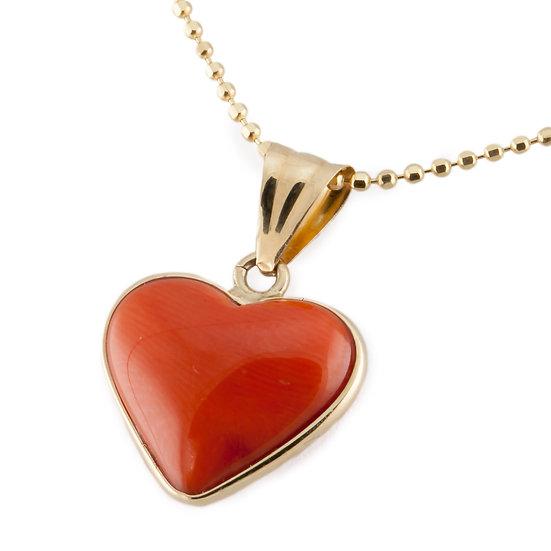cuore in corallo e oro