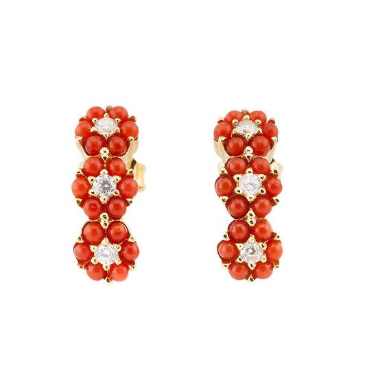 orecchini flores argento corallo zirconi