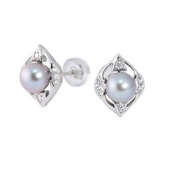 Orecchini moderni argento perle coltivate e zirconi