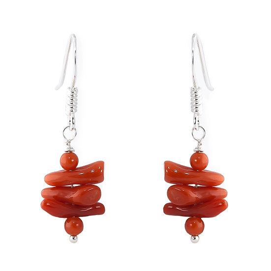 Orecchini pendenti piccoli corallo rosso e argento