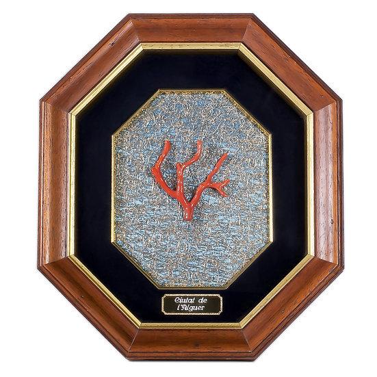 Quadro design vintage con ramo corallo rosso di Alghero