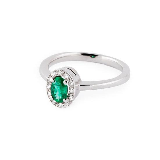 Anello smeraldo, diamanti e oro bianco