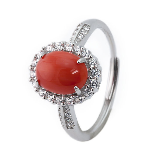 Anello Classic corallo rosso e argento