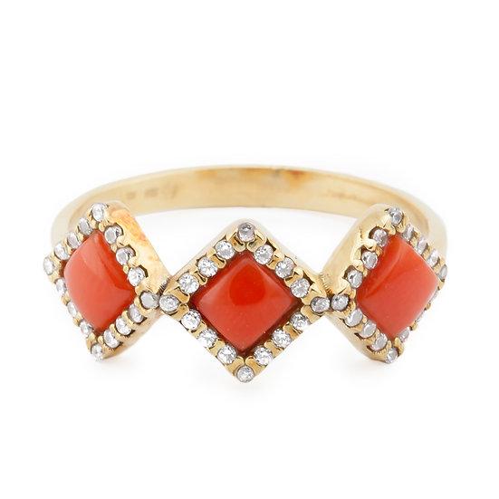 anello rombi in oro zirconi e corallo