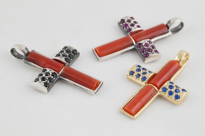 croce con corallo e argento 925 e zirconi