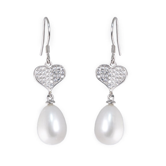 Orecchini Perla barocca e cuore argento