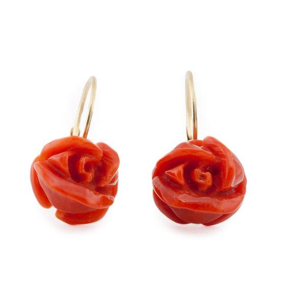 Orecchini Rosa corallo rosso e oro