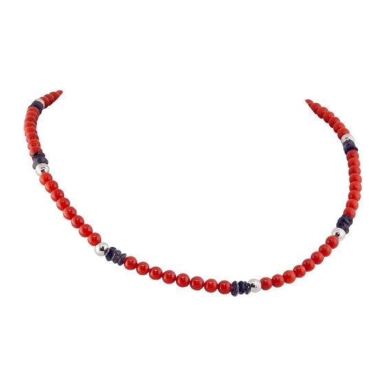 collana in corallo rosso rubrum, oro bianco e zaffiri