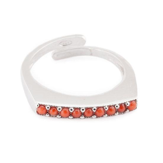 Anello Linea Essential Corallo rosso argento e zirconi
