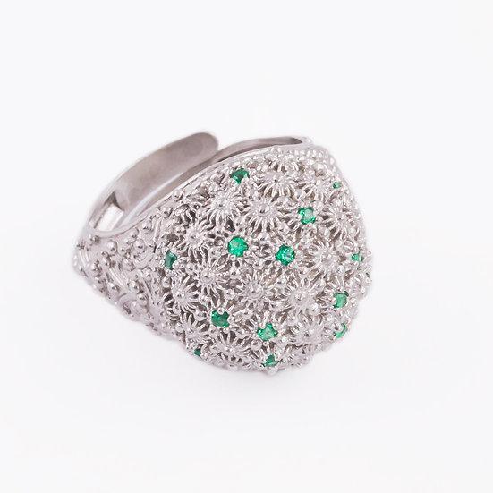 anello sardo argento 925 e zirconi