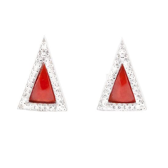 orecchini triangolari minimal argento, corallo e zirconi