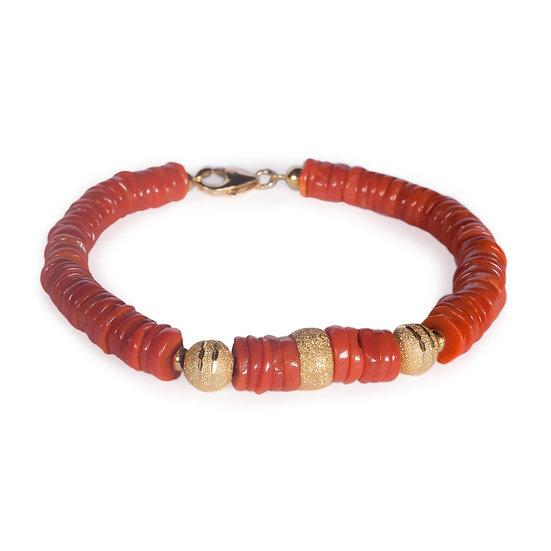 bracciale scaglie in corallo rosso e dettagli oro