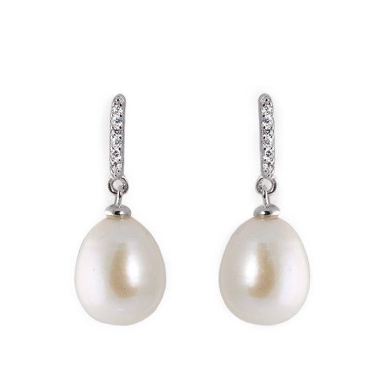 Orecchini pendenti perla barocca e zirconi