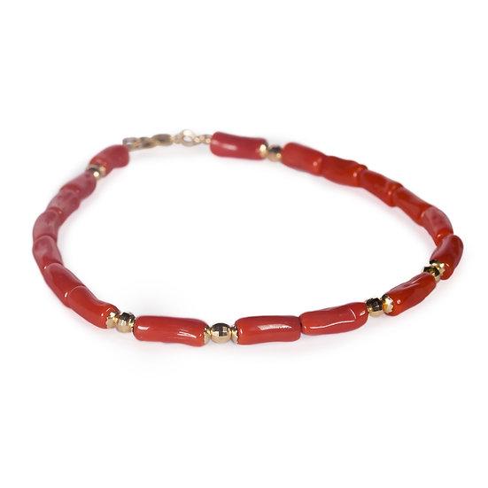 bracciale bastoncini corallo rosso e dettagli oro