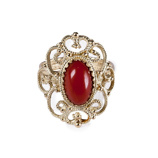 Anello Ricamo filigrana oro e corallo rosso